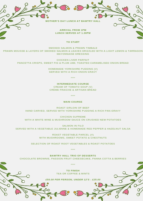 Mothers Day Lunch Menu - Bawtry Hall